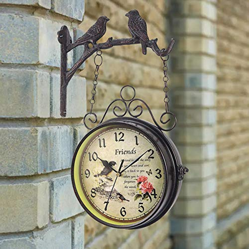 Dyna-Living Outdoor Garden Clock, Double Sided Wall Clock Outside Station Clocks for Garden Indoor Home Decoration - 18cm