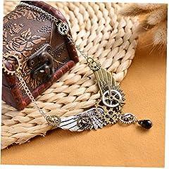 Women Vintage Punk Angel Wings Gear Statement Necklaces Pendants Retro Chain Necklace Ladies Steampunk Jewelry #5