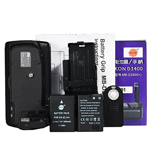 DSTE D3400 Impugnatura Batteria Verticale + IR Remote Control con (2 pack) EN-EL14 Compatibile per Nikon MB-D3400 Fotocamera