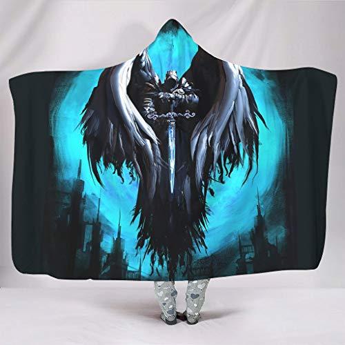 Fineiwillgo Manta con capucha de caballero con alas y capucha, muy suave y cómoda, para hombres y mujeres, de felpa, para sofá o sillón, color blanco, 130 x 150 cm