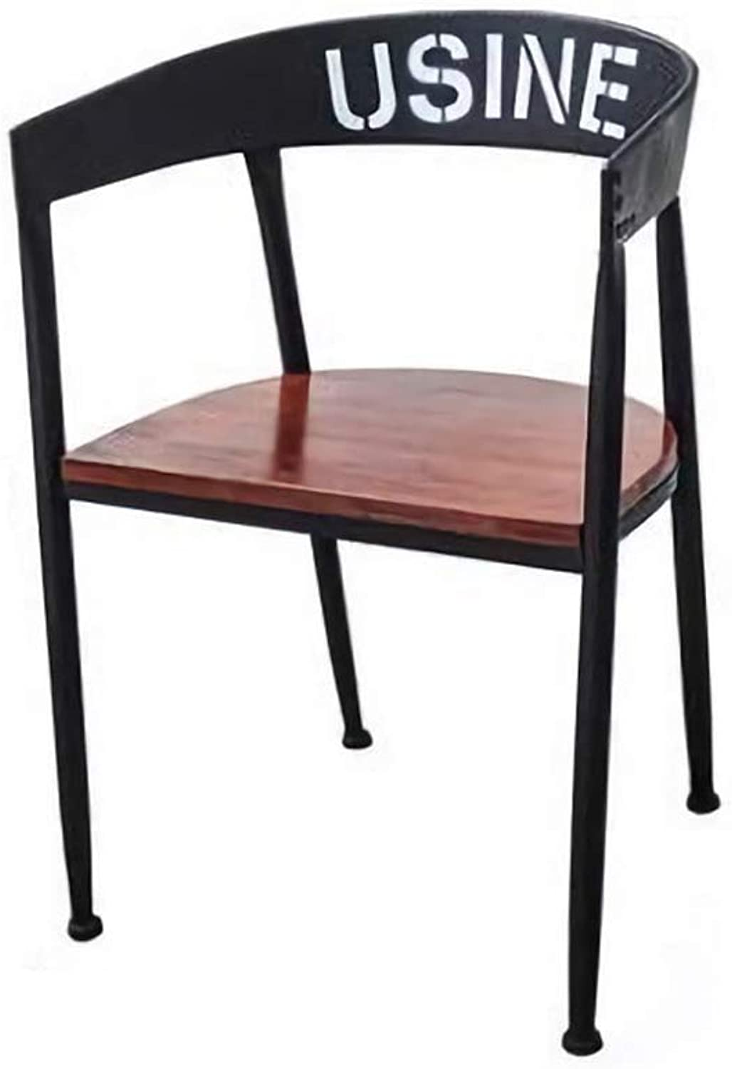 Kitchen Pub Bar Stools Set Black Metal Frame Solid Wood Seat Industrial Style (Size   L53W48H45-75cm)