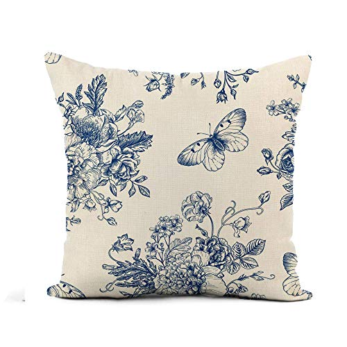 N\A Throw Pillow Cover Vintage Pattern Bouquet of Blue Flowers on Peonies Roses Funda de Almohada Decoración para el hogar Funda de Almohada de Lino de algodón Cuadrada Funda de cojín