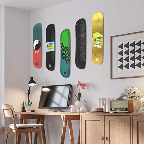 Arcade Skateboard Wall Mount Rack Hanger 2 Pack Horizontal or Vertical Display (Clear)