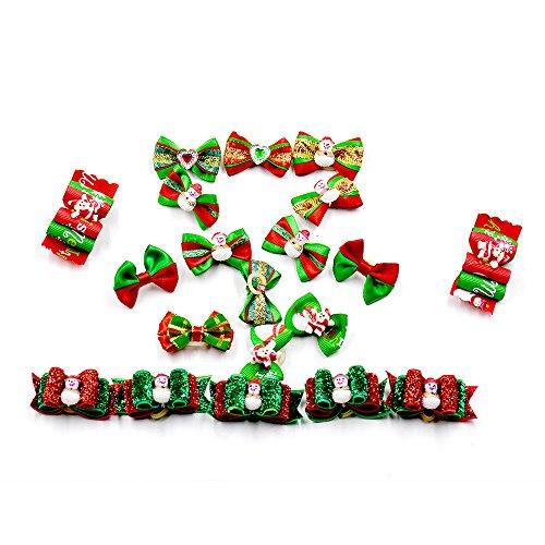 BIPY 40 Stks Huisdier Honden Chirstmas Haar Strikken met Rubber Bands Bow Ties Kerstman Patroon X-mas Feestvakantie Bowties Haarbanden Haarverzorging Accessoires, Verschillende Kleur Pack van 40