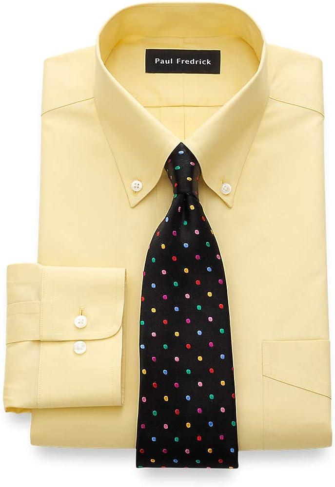 Paul Fredrick Men's Slim Fit Non-Iron Cotton Button Down Collar Dress Shirt, Size 15.0/34 Yellow