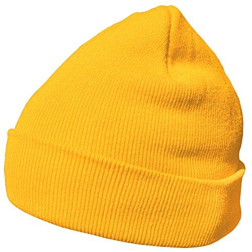 DonDon Wintermütze Mütze warm klassisches Design modern und weich gelb