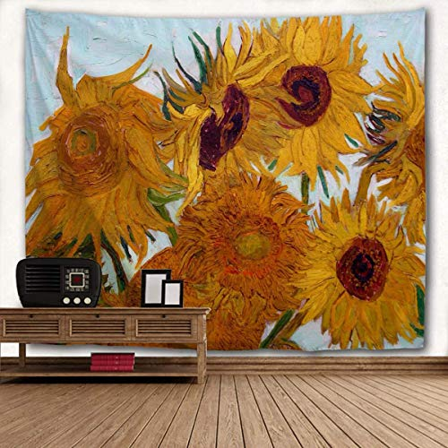 WIHVE Van Gogh Tapisserie, großer Wandteppich, Sonnenblumen-Wandteppich, florale Blumen, Wandbehang, Kunst, Heimdekoration für Schlafzimmer, Wohnzimmer, Wohnheim, Wohnheim, 228 x 152 cm