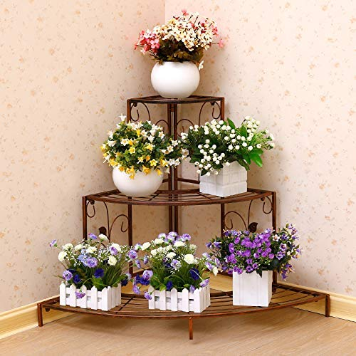 XHH 3-stufige Eisenstufen Pflanzenständer Schuhregal, Pflanzeneckregal Blumentopf Pflanzenhalter Pflanzgefäße Aufbewahrungsregal für den Außenbereich (tragbares Regal)