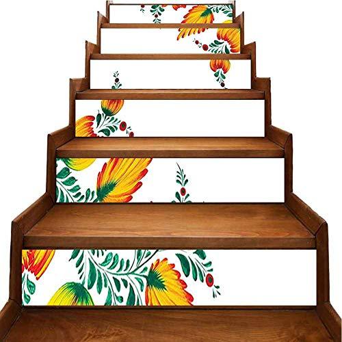 Adhesivo decorativo para pared, diseño de viejo iraní con flores curvas, color marrón, pvc, Naranja-03, 7'x39.3'x6pcs