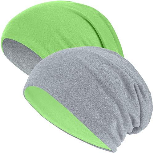 Hatstar 2in1 Reversible Damen Beanie | Damen und Herren Mütze | Wintermütze | weich & warm (2 in 1 hellgrau/neon grün)