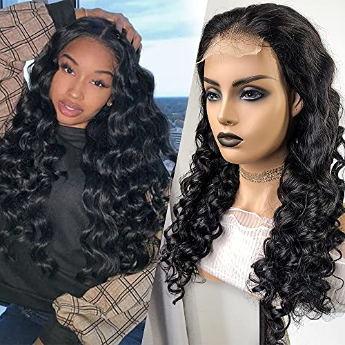 Brazilian Virgin Human Hair Loose Deep Lace Front Wigs 12A Grade Loose Deep Wave 4x4 Lace Closure Wig with Baby Hair For Black Women (18Inch, 4x4 closure wig)