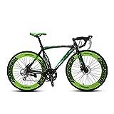 Extrbici XC700 deportes de carreras de bicicleta de carretera 700 cx54 cm marco de aleación de aluminio de 14 velocidades Shimano 2300 Mans bicicleta de carretera doble frenos de disco mecánicos cyrusher populares moda marco pintura, verde