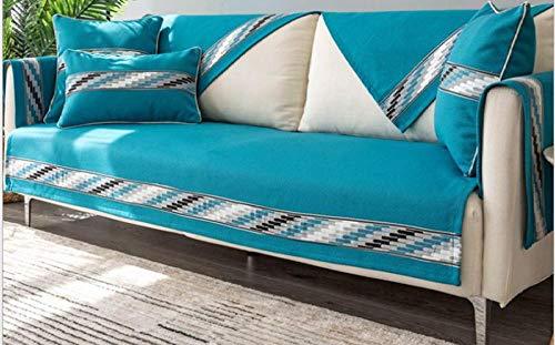 kinfuki Funda de sofá de Reversible Ligera y con Acolchado,Funda Completa para sofá Funda Libre 2 Fundas de Almohada-Azul Oscuro, 70 * 150