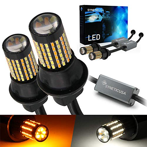 Syneticusa 7443 Error Free Canbus Dual Color Switchback LED Turn Signal Light Bulbs No Hyper Flash All in One Built In Resistors (Turn Signal-Amber and white alternate flash)