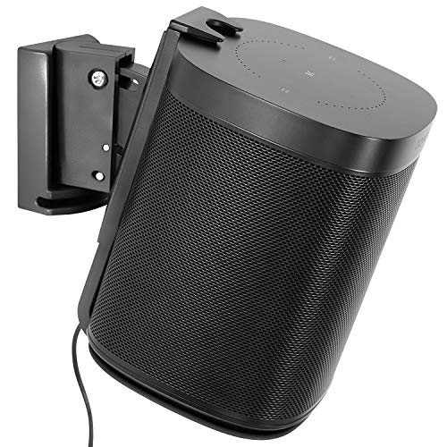 Mount-It! Adjustable Speaker Wall Mount for SONOS One, One SL and Play:1   Low-Profile, Adjustable Tilt and Swivel Speaker Mount   Single, Black (MI-SB434)