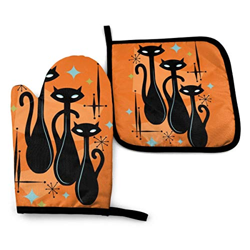 Ameiu-Design Oven Mitts and Pot Holders,Effervescent Orange Atomic Age Black Kitschy Cat Trio Advanced Heat Resistant Oven Mitts,Non-Slip Textured Grip Potholders for Cooking Grilling Baking