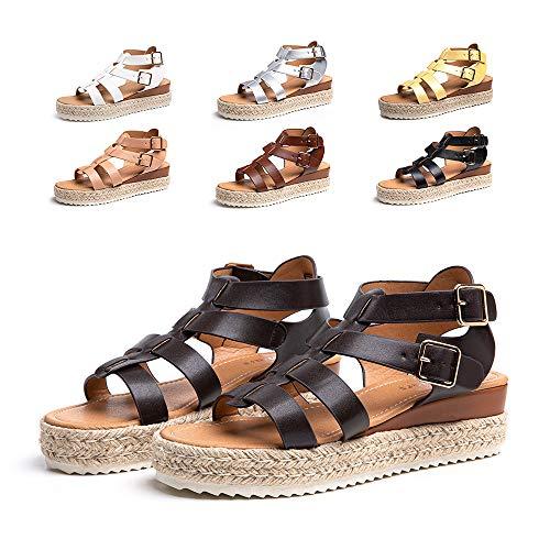 Sandalias Mujer Verano Plataforma Alpargatas Esparto Cuña Zapato Punta Abierta HebillaComodas Marrón Oscuro Talla 39 EU