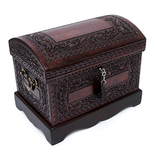 NOVICA Colonial Wood and Leather Jewelry Box, Brown