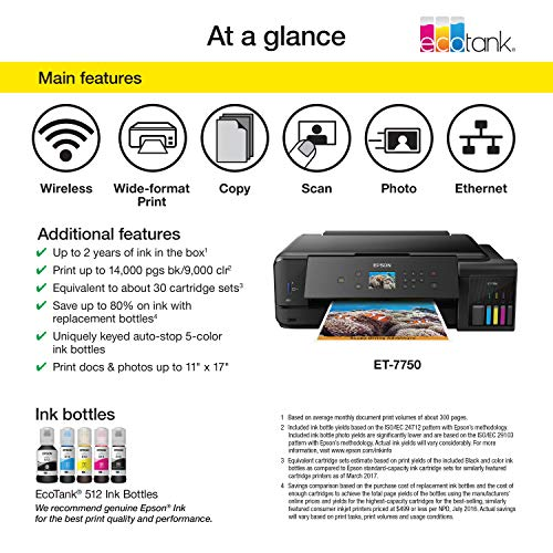 Epson Expression Premium  EcoTank Wireless 5-Color All-in-One Supertank Printer with Scanner, Copier and Ethernet Photo #8