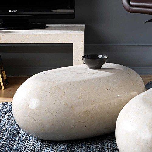Pharao24 Steintisch für Wohnzimmer Creme Weiß