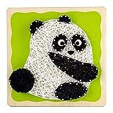 Woodby Toy DIY String Art Kit for Kids - Craft Kit - Wooden Base, Cotton Thread, Nail Set - Panda Pattern