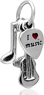 I Love Music Dangle Charm Heart Charm 925 sterling Silver Note, Guitar, Red Heart Charm fit for DIY Charms Bracelets