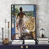 Leinwanddruck,Malerei Auf Leinwand Wandkunst,balkon Sexy Frau Abstrakte Hd Print Poster,moderne Kreative Wandkunst Leinwanddruck Inkjet Bild Pop Art Für Wohnzimmer Schlafzimmer Wohnkultur