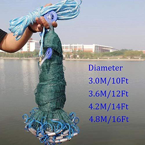 Cenphua Hand werfen Fischernetz Durchmesser 3,0 m - 4,8 m Cast Net Fishing Net (Durchmesser 4,2 m)