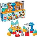 Mega Bloks First Builders jeu de gros blocs de construction et perceuse, 32pièces, jouet pour bébé et enfant dès 2ans, GXK36