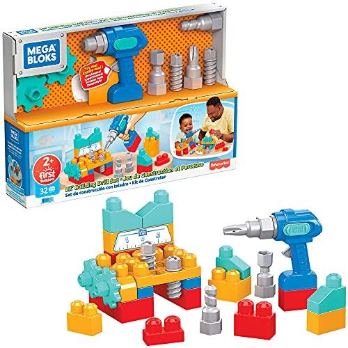 Mega Bloks Set de construcción con taladro Bloques de construcción, juguete para niños +1 año (Mattel GXK36)