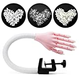 Pink Nail Practice Hand for Acrylic Nails, Flexible Fake Nail Hand Practice Fingers with 300pcs Nail Tips, Nail Technician Supplies Manicure Tool