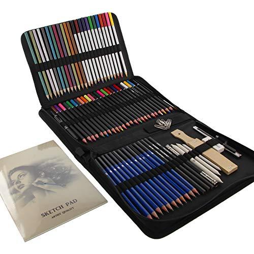 Lápices de Colores Profesionales 85 pcs Kit de Lápices Croquis de Colores Lápices de Colores para Dibujar Artista Portátil con Bolsa Incluida para Niños y Estudiantes Principiantes