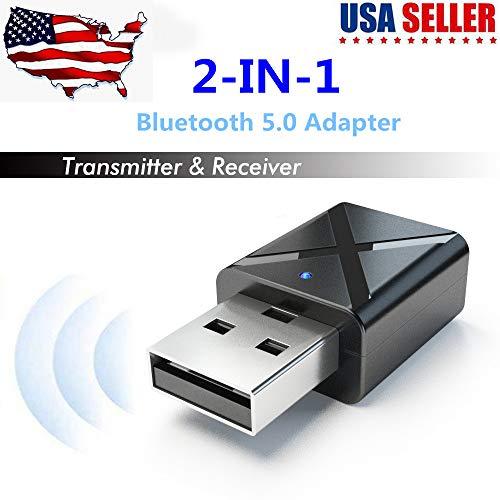 Bluetooth 5.0 USB Dongle Adaptador, Hi-fi Adaptador de Audio Inalámbrico 2-en-1 Receptor...