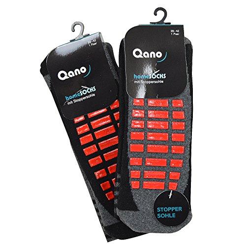 Qano 4060-5 2er Pack Damen ABS Stopper Socken grau & schwarz mit roter Stoppersohle (39-42, grau & schwarz)