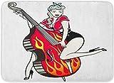 LXJ-CQ Zerbini Tappeti da Bagno Tappetino Rosso Comico Rockabilly Pinup Ragazza Che Suona Il Contrabbasso Fiamme Bandana retrò 19,5'x31,5