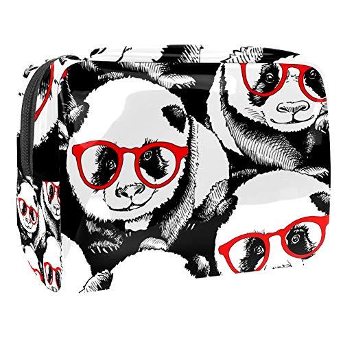 Tragbare Make-up-Tasche mit Reißverschluss, Reise-Kulturbeutel für Frauen, praktische Aufbewahrung, Kosmetiktasche, Panda, in roter Brille