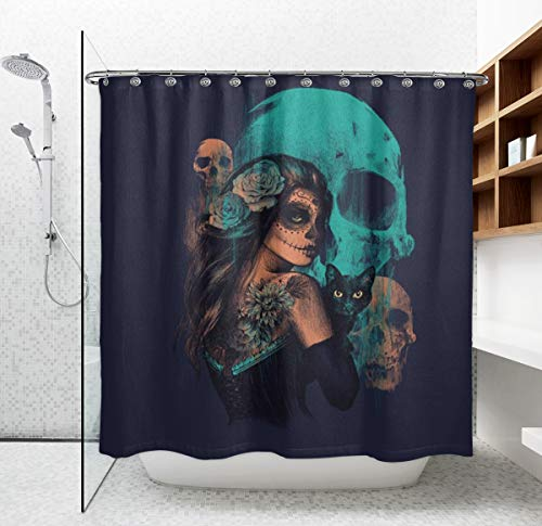 NiYoung Waterproof Bath Curtain Funny Hippy Sugar Skulls Girl Bathroom Shower Curtains, Durable Fabric Shower Curtain, Safe and Easy Care for Men Women Kids Hotel Spa Home Decor