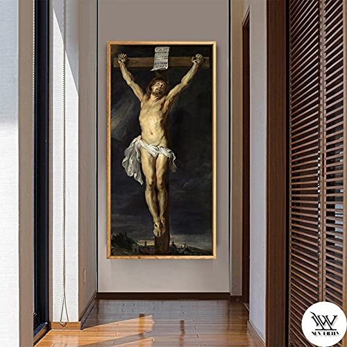 Religious Jesus Canvas Poster Christ's Agony on the Cross Art Painting Classic Wall Picture Print Living Room Decoration 30x60 CM (sin marco)