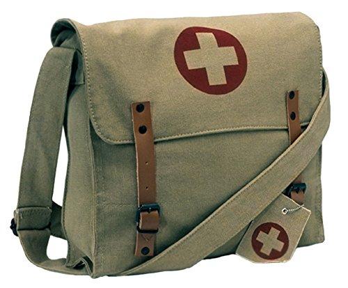 Khaki Vintage Army Red Cross Medic Shoulder Messenger Bag
