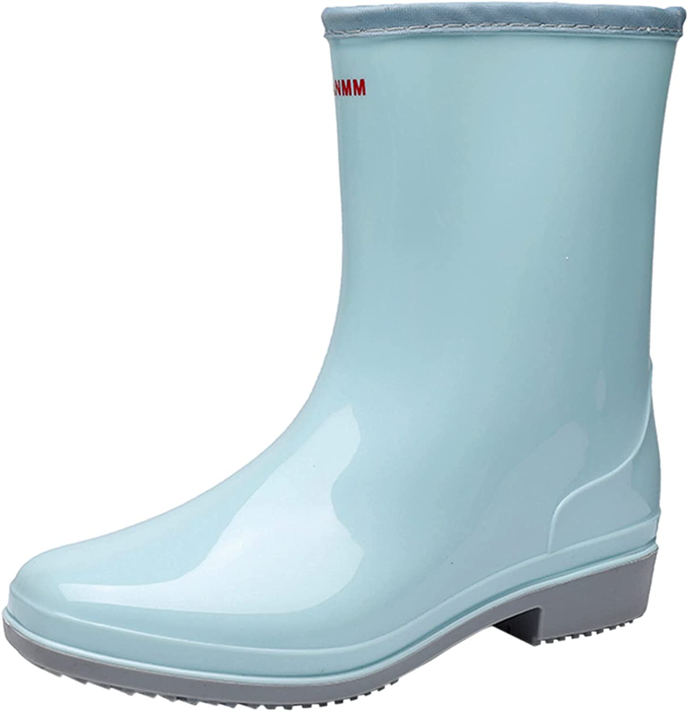 NIMIZIA Rain Boots for Women Womens Low-Heeled Buckle Round Toe Shoe Waterproof Middle Tube Rain Boots for Women