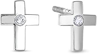 14k Gold Tiny Cross Stud Earrings with Solitaire CZ