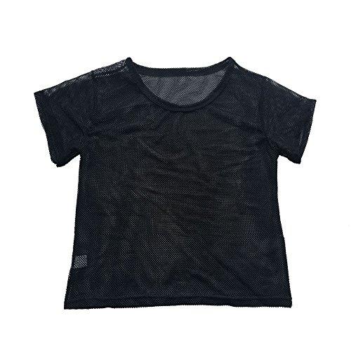 Damen Oberteile Damen Schwarze Netzbluse Sport-Bluse Fitness Shirt Top XL Weste Mann Damenjacke Shirt
