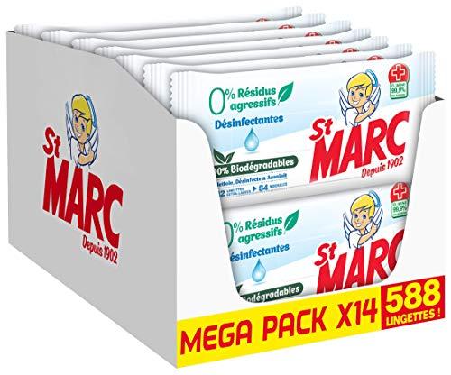 St Marc Lingettes Biodégradables 0% résidus agressifs Désinfectantes - 42 lingettes x Lot de 14 (Total 588 lingettes)