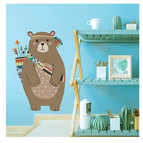 XLGX Stickers Muraux Ours Chambre Decor Décoration Sticker Adhesif Mural Géant Répositionnable Stickers Muraux Enfants Ours (Bleu)