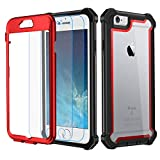 Garegce Coque iPhone 6, Coque iPhone 6s avec [2 x Protecteur d'écran en Verre Trempé], Housse TPU+PC [Antichoc] Transparent 360° Anti-Chute Armure Double Protection for iPhone 6 / 6s-4.7'- Rouge