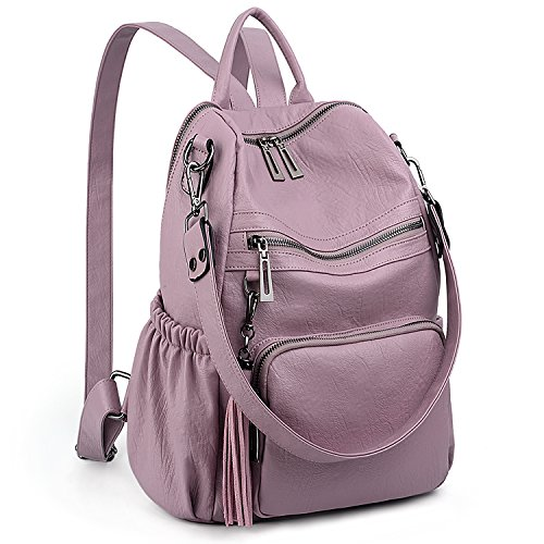 UTO Women Backpack Purse PU Washed Leather Convertible Ladies Rucksack Tassel Zipper Pocket Shoulder Bag C Light Purple