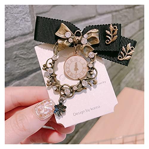 JJSCCMDZ Broche Tela de Moda Coreana Arco Broche Pin Cristal Reloj Collar Pins Traje de Corsage Insignia Vintage Joyería Regalos for Mujeres Accesorios (Metal Color : Gold-Color)