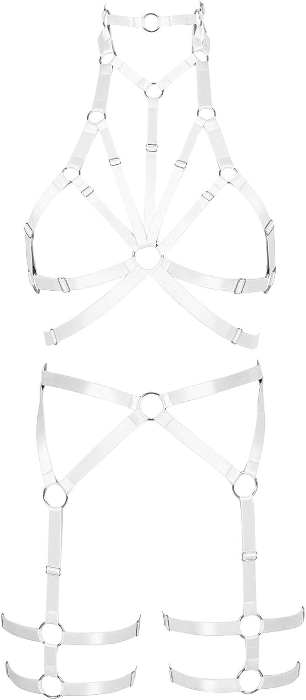 Garter belt set Lingerie cage Halloween Full body harness for women Punk Gothic Bra Festival Rave Plus size Chest strap