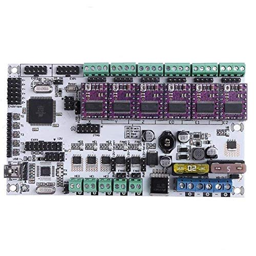 CHUNSHENN 3D Printer Mainboard, 12V Rumba Plus Upgraded Integrated Mainboard Control Board Support 3 Print Heads With 6pcs DRV8825 Stepper Driver For 3D Printer