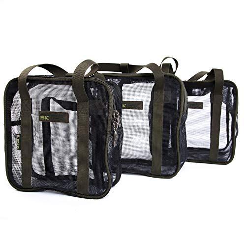 Sonik SK-TEK Air Dry Bag Boilie - Boilietasche zum trocknen mit Reißverschluss - Futtertasche Angeln zum aufbewahren von Karpfenködern - Carp Bait Pocket, Größe:XL